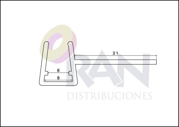 Perfil de encuentro 6/8 mm x 2M 21 mm