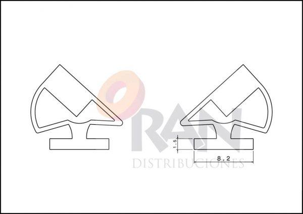 Imán enfundado mampara semicircular 2 M