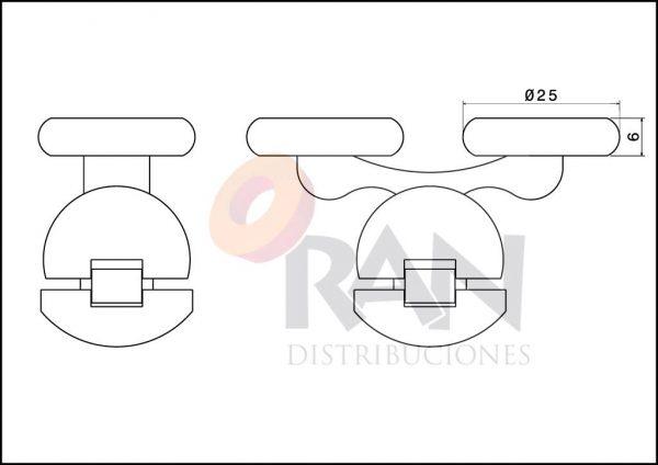 Juego pieza superior e inferior con soporte metálico cromado doble rodamiento 25 mm
