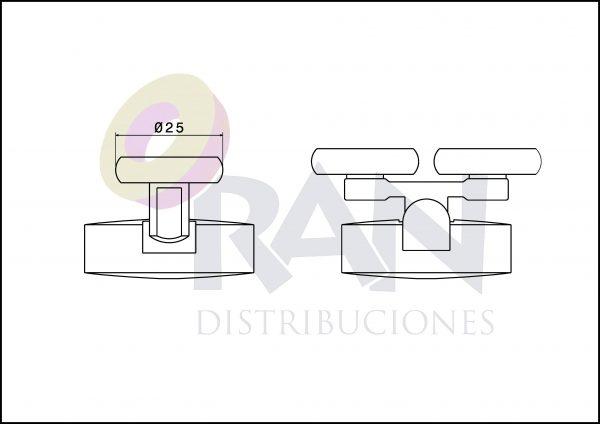 Juego pieza superior y pieza inferior mariposa nylon doble rodamiento 25 mm bolas