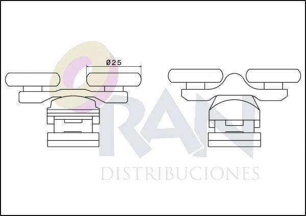 Juego pieza superior y pieza inferior metálica cromada doble rodamiento 25 mm bolas