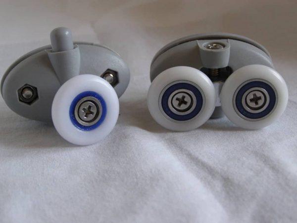 Juego pieza superior y pieza inferior pinza nylon doble rodamiento 25 mm