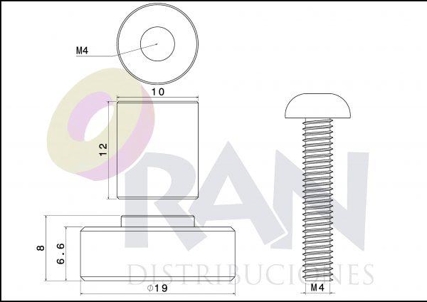 Pista lisa 19 mm casquillo 12 mm arandela y tornillo métrica 4×20 inox