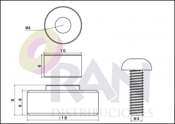 Pista lisa 19mm casquillo 6mm arandela y tornillo métrica 4×12 inox