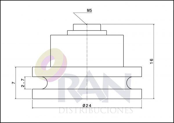 Polea cuello corto 24 mm nylon métrica 5×8