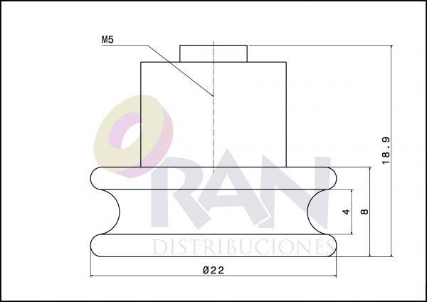 Rodamiento angular 22mm cuello nylon con tornillo métrica 5X8