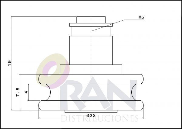 Rodamiento Angular 22mm nylon c/t métrica 5×8