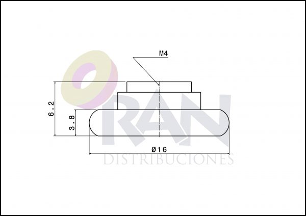 Rodamiento frontal 16 mm nylon métrica 4×8