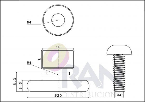 Rodamiento frontal 20 mm nylon caquillo 6mm arandela y tornillo métrica 4X12 inox