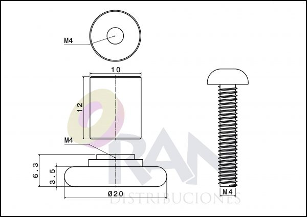 Rodamiento frontal 20mm nylon casquillo 12mm, arandela y tornillo métrica 4×20 inox