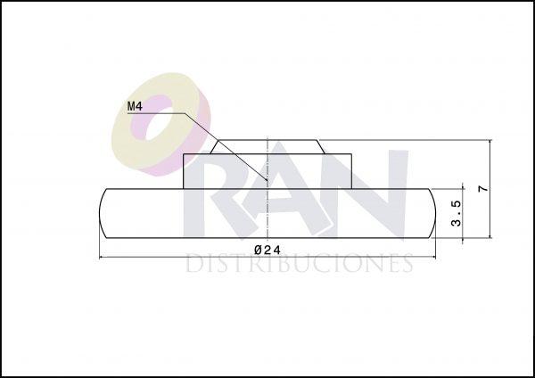 Rodamiento Frontal 24 mm nylon con tornillo métrica 4X8