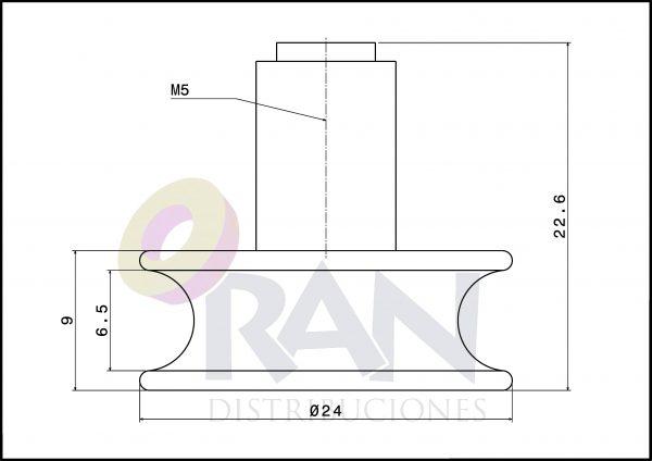 Rodamiento semicircular 24mm bolas con tornillo métrica 5×8
