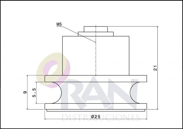 Rodamiento semicircular Extruperfil 25mm nylon con tornillo métrica 5×8